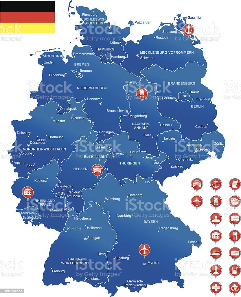 Detailed Map Of Germany Stock Vector Art & More Images of Airport ...