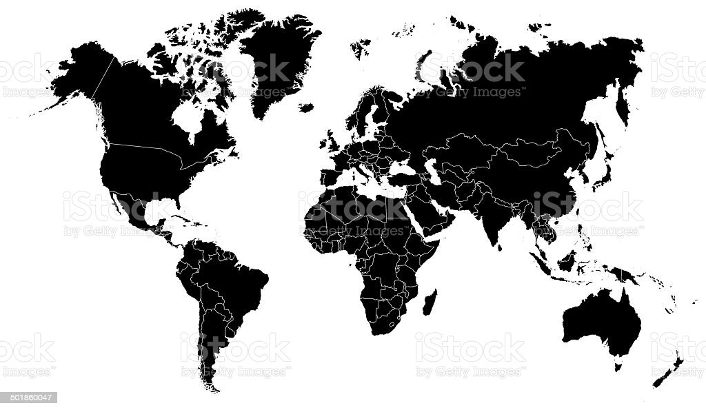 detailed outline world map by countries royalty free detailed outline world map by countries stock
