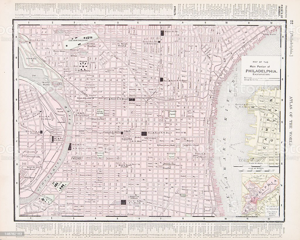 Detailed Vintage Color City Street Map Of Philadelphia Pennsylvania on