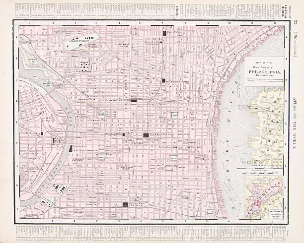 illustrations, cliparts, dessins animés et icônes de détail couleur vintage carte de ville de philadelphie, en pennsylvanie, états-unis - rivière delaware