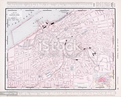 Detailed Vintage Color Street City Map Of Cleveland Ohio Usa Stock - Cleveland ohio usa map