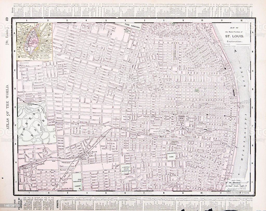 Detailed Vintage Color Street City Map St Louis Missouri Usa ... on liberty missouri usa map, nashville tennessee usa map, wichita kansas usa map, albany new york usa map, st. louis map, minneapolis minnesota usa map, providence rhode island usa map, birmingham alabama usa map, boston massachusetts usa map, tacoma washington usa map, springfield missouri usa map, buffalo new york usa map, franklin missouri usa map, lebanon missouri usa map, state of missouri location map, atlanta georgia usa map, omaha nebraska usa map, independence missouri usa map, san diego california usa map, des moines iowa usa map,