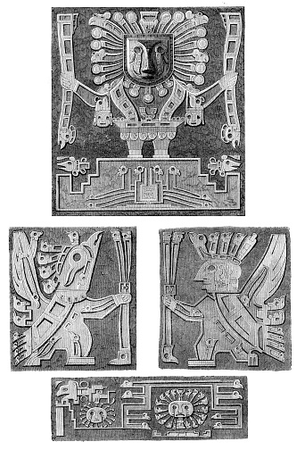 Details of the Tiahuanaco monolith door Bolivia 1858