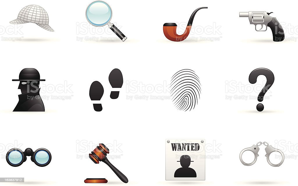 Detective Icon Set vector art illustration