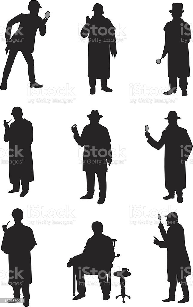 Detectives in different poses vector art illustration