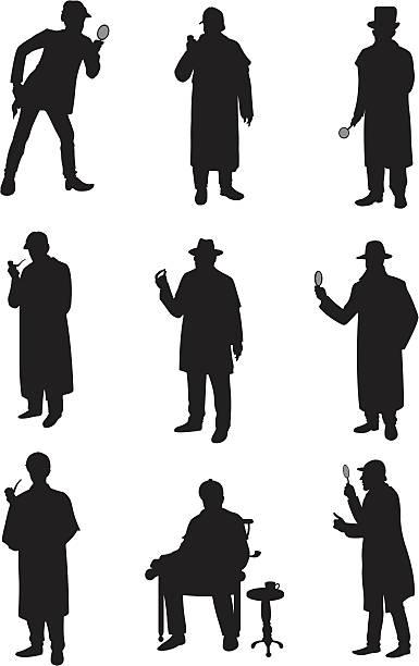 Detectives in different poses Detectives in different poses deerstalker hat stock illustrations