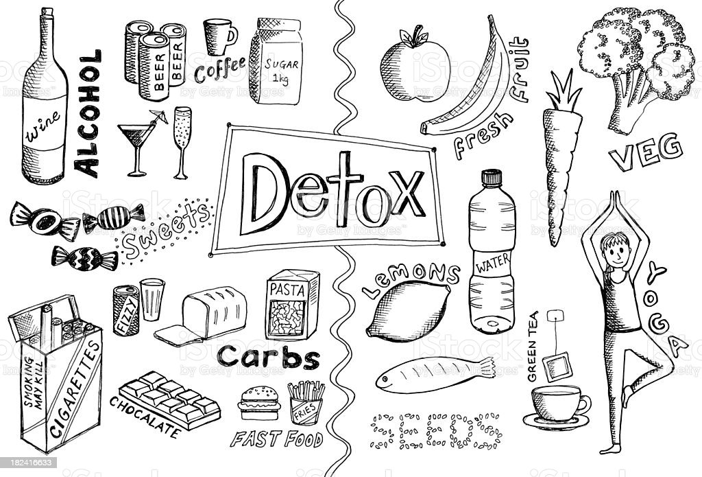 Detox doodes vector art illustration