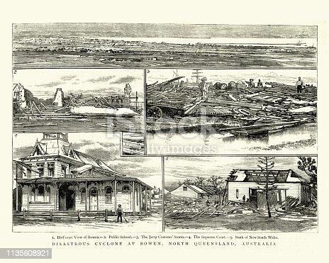 Vintage engraving of Devastation caused by cyclone, Bowen, North Queensland, Australia, 19th Century.