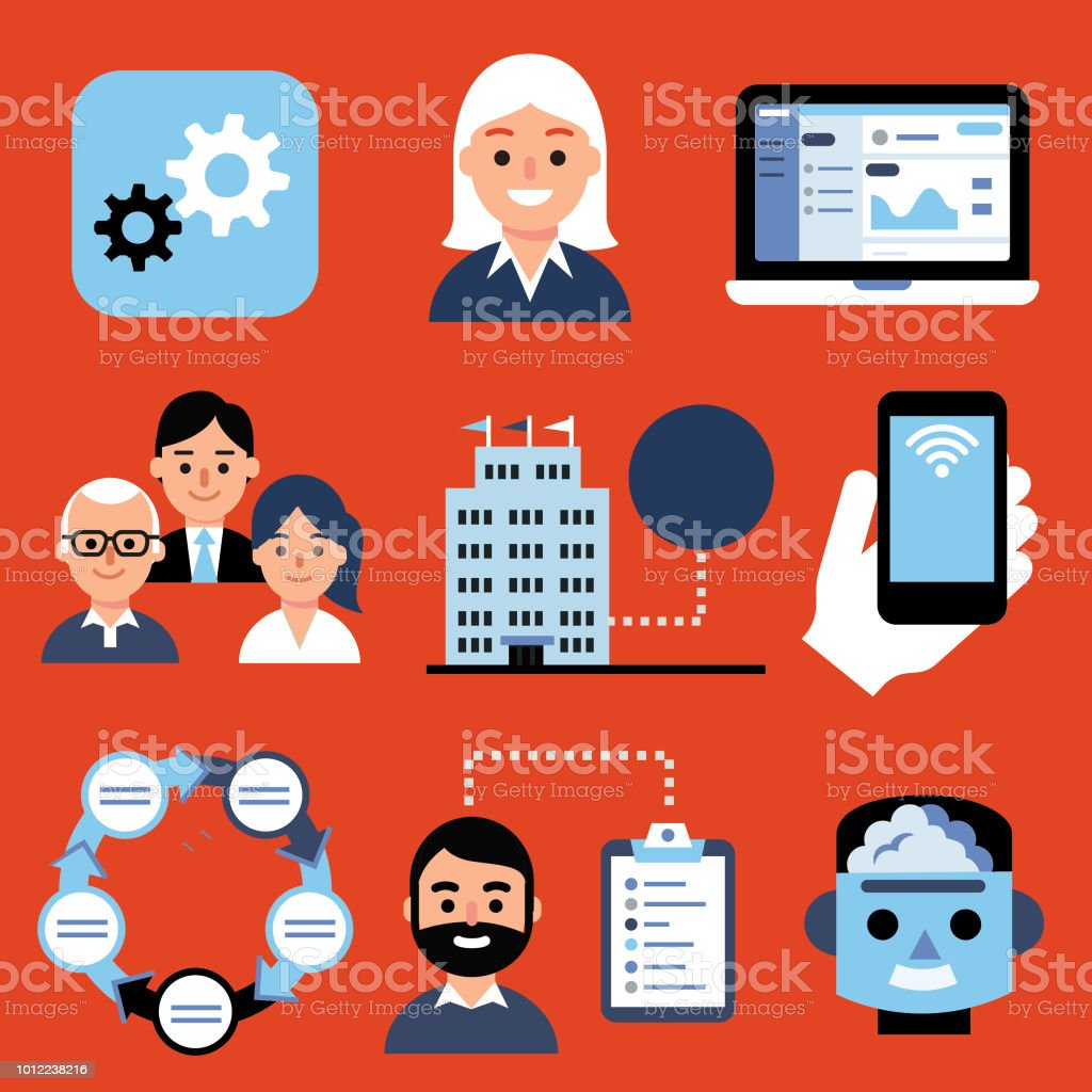 Development and Marketing icons vector art illustration