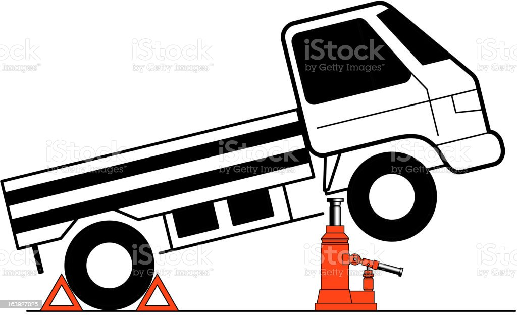 Device for lifting a car repair. royalty-free stock vector art