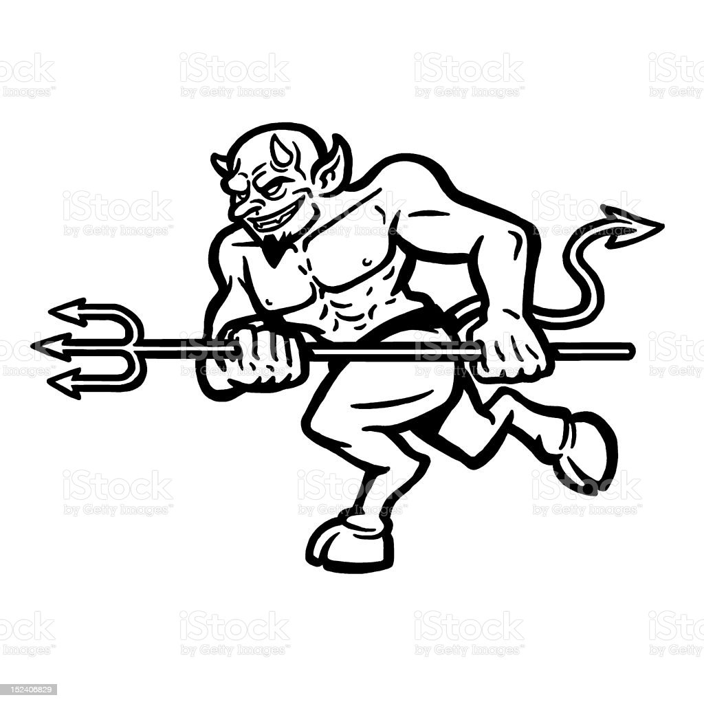 Devil Charging With Pitchfork royalty-free stock vector art