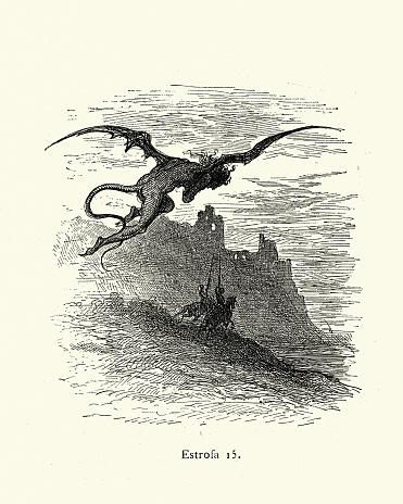 Devil demon follow two questing knights, fantasy