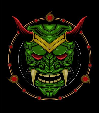 devil face illustration. head of demon. japanese demon mask.