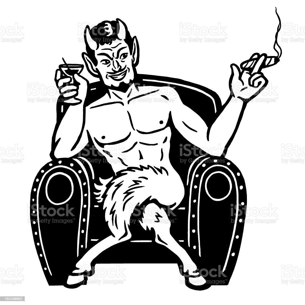 Devil Smoking and Drinking royalty-free stock vector art