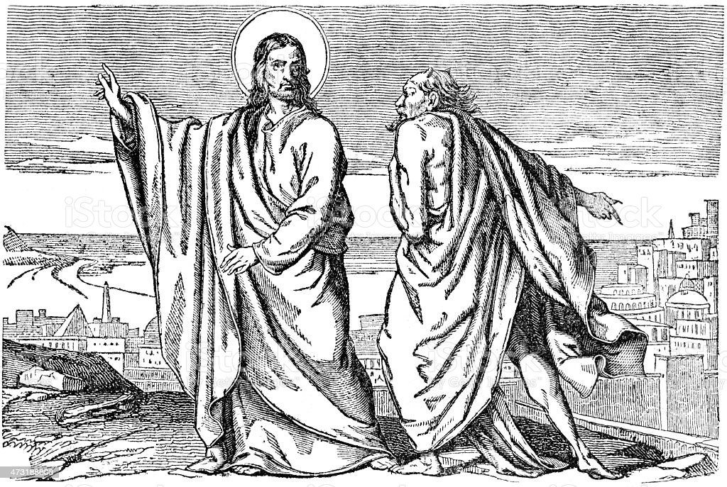 Devil Temptation Of Jesus Christ Stock Illustration - Download Image Now - iStock