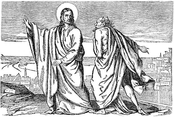 Devil temptation of Jesus Christ vector art illustration
