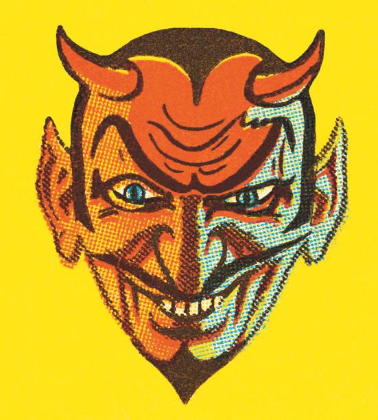 ilustraciones, imágenes clip art, dibujos animados e iconos de stock de devil con los cuernos - ojos azules