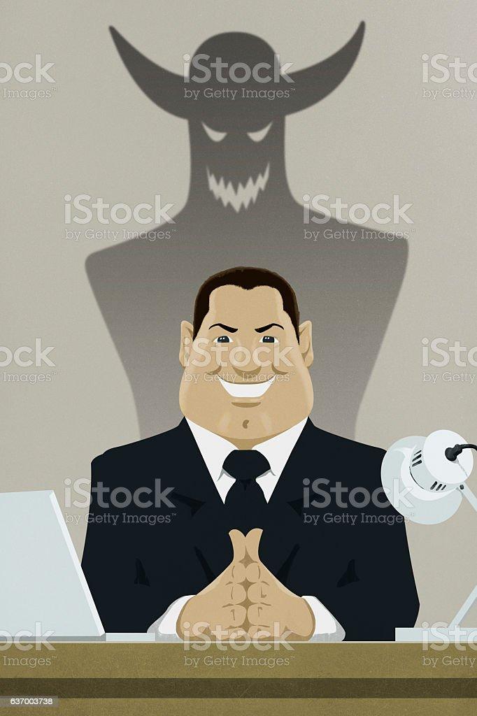Devilish boss illustration vector art illustration