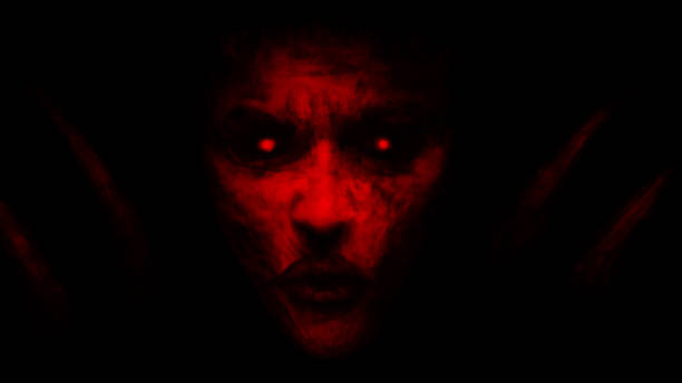 ilustrações de stock, clip art, desenhos animados e ícones de devilish woman appears from dark and kisses. - seitas