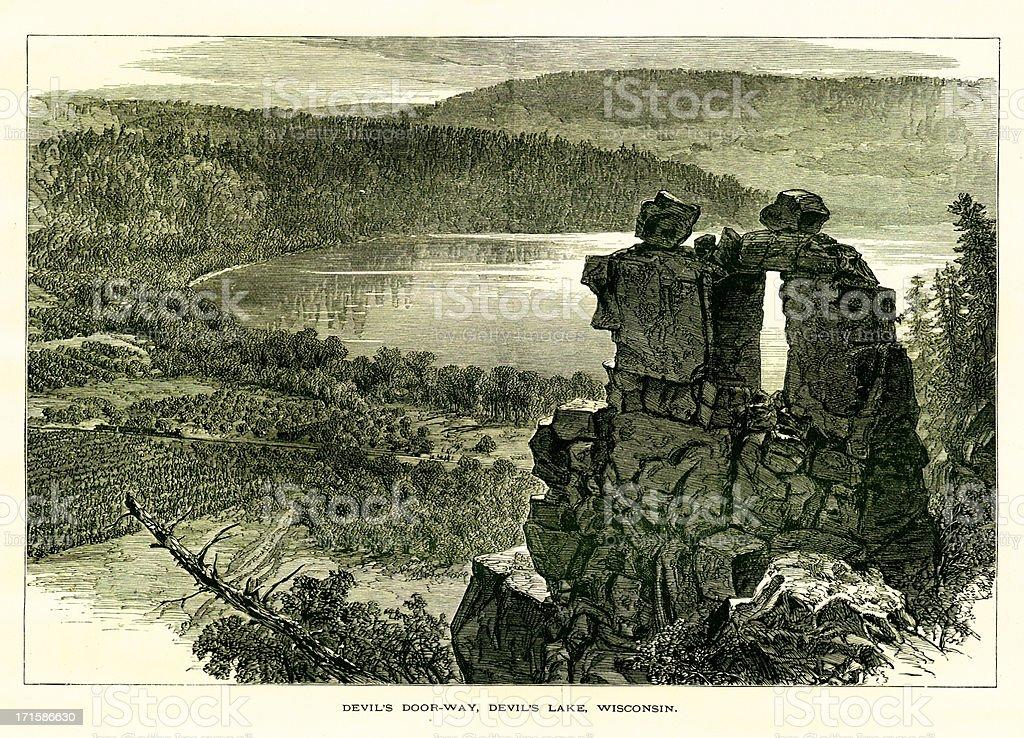 Devil's Lake, Wisconsin royalty-free stock vector art
