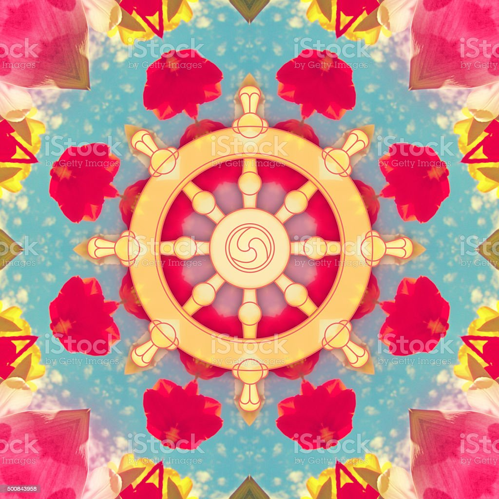 Dharma wheel symbol on red flower mandala vector art illustration