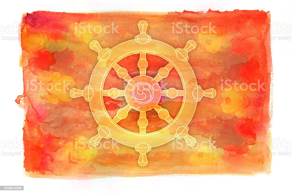 Dharma wheel symbol on watercolor painting vector art illustration