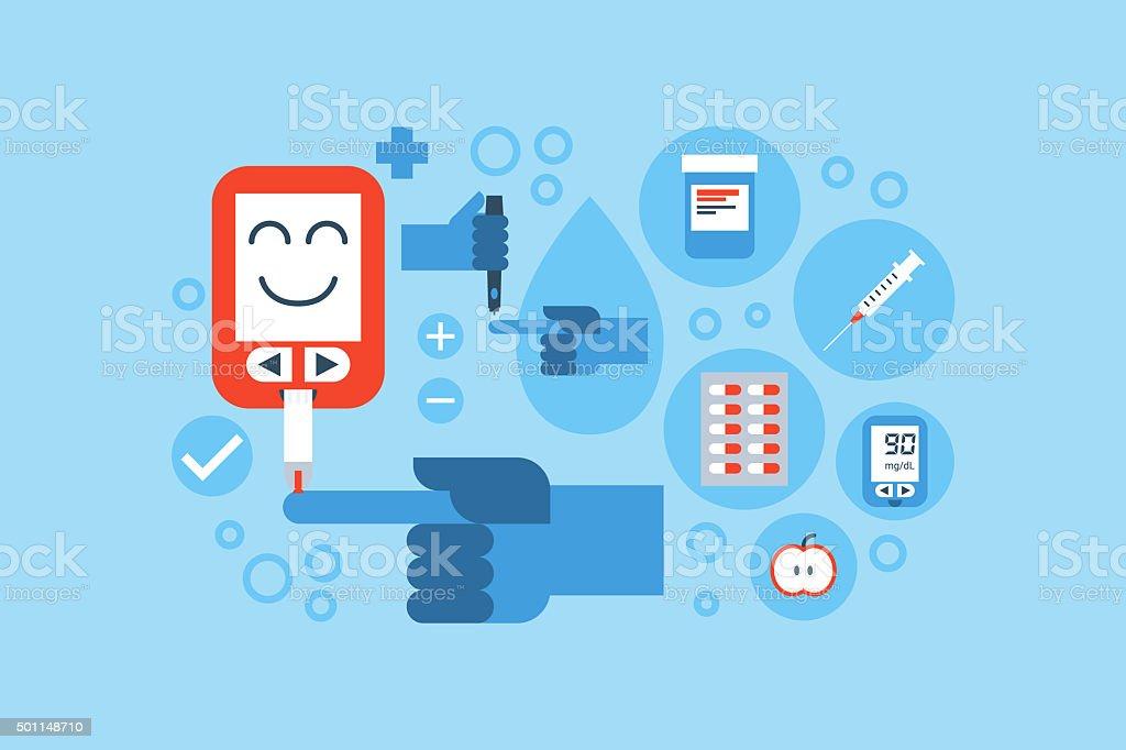 diabetes blue ring concept vector art illustration