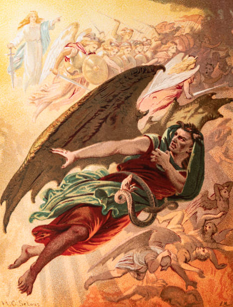 Diabolus is defeated from 'The Holy War' by Bunyan vector art illustration