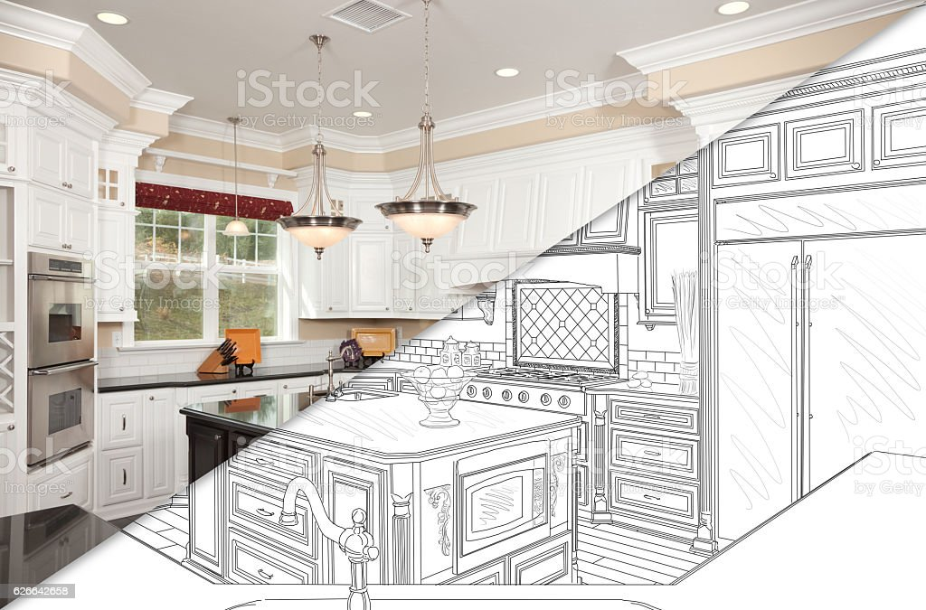 Diagonal Split Screen Of Drawing and Photo of New Kitchen vector art illustration