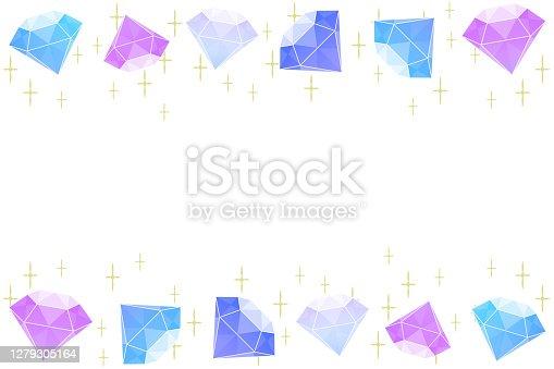 Colorful diamond frame on white background.