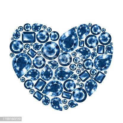 Diamond gem heart, isolated on white background