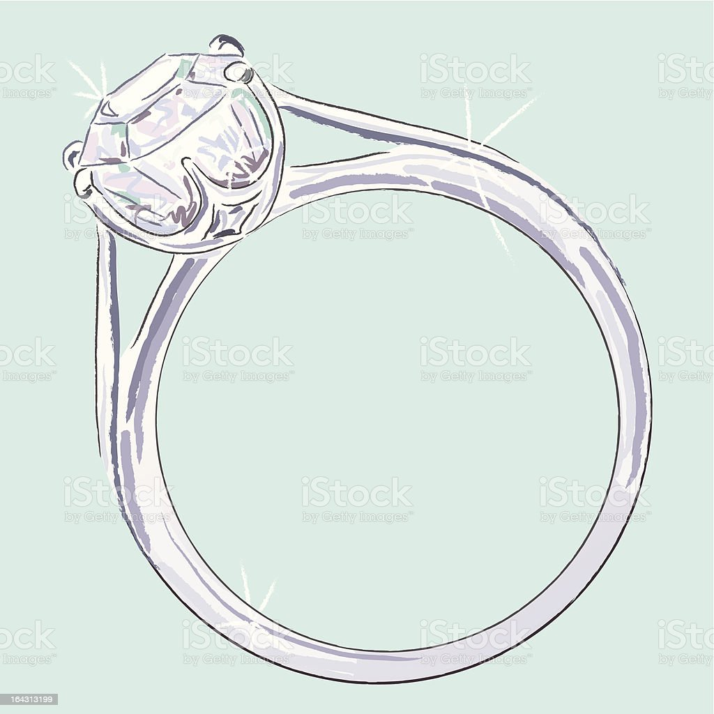Anillo de diamante - ilustración de arte vectorial