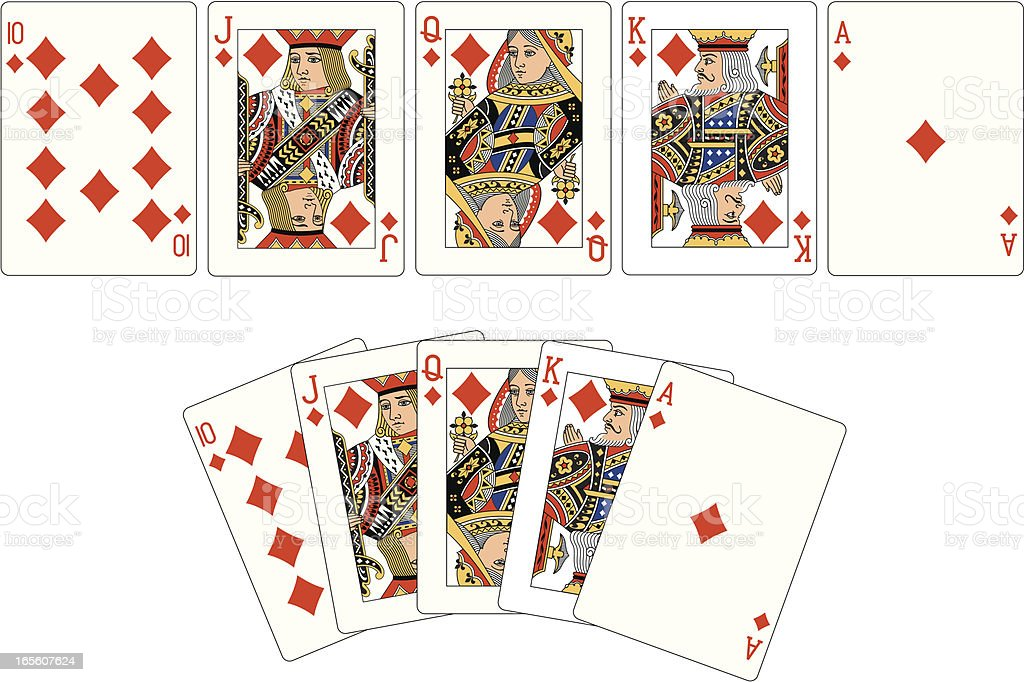 Diamond Suit Two Royal Flush playing cards royalty-free stock vector art