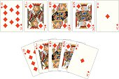 Two examples of a Diamond playing card 'Royal Flush.'