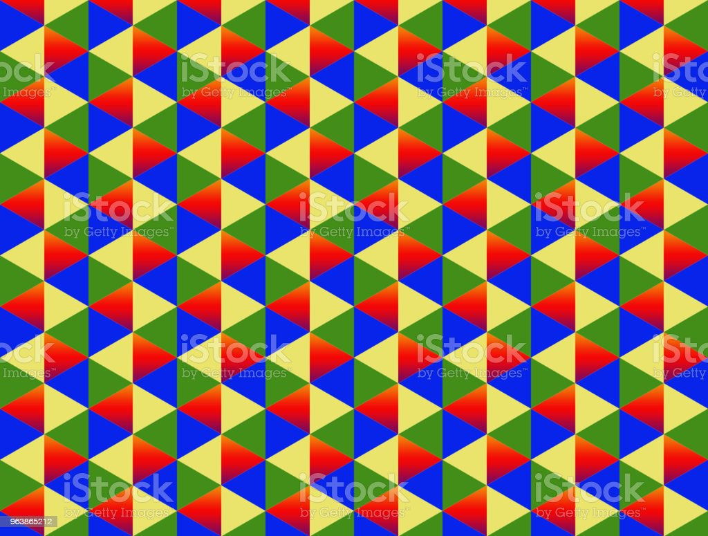 diamond two color red yellow green blue triangle background pattern colorful endless series - Royalty-free Art stock illustration