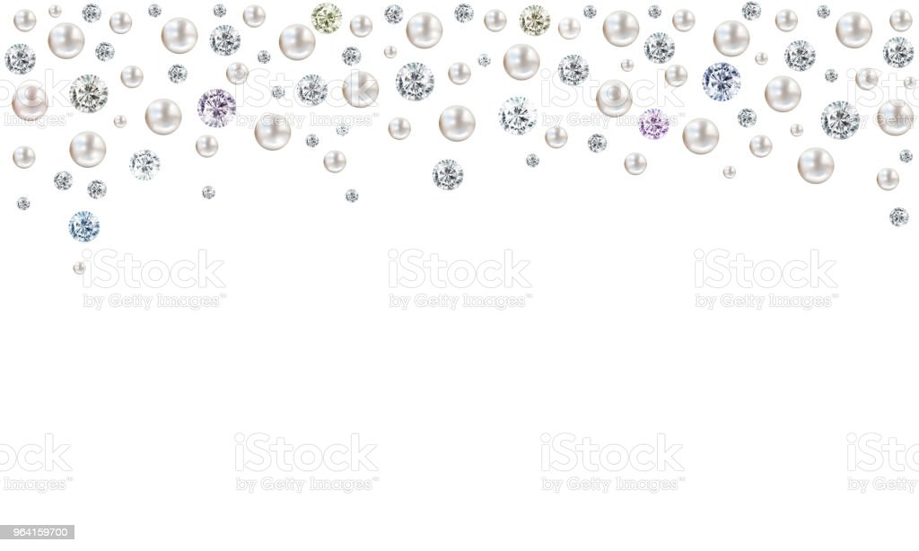 Diamonds And Pearls Raining From Top On White Background Stock Illustration  - Download Image Now