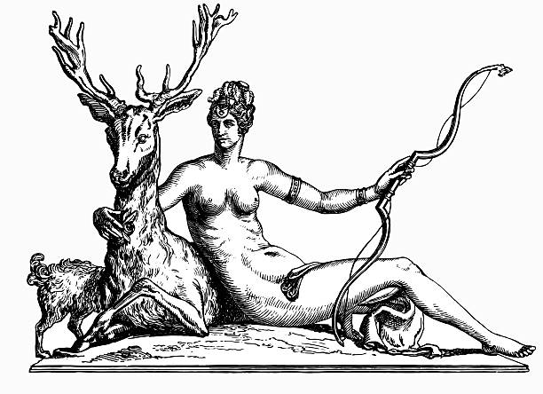 Diana Goddess of the hunt Vintage engraving of Diana. In Roman mythology, Diana was the goddess of the hunt, the moon and birthing, being associated with wild animals and woodland, and having the power to talk to and control animals. artemis stock illustrations