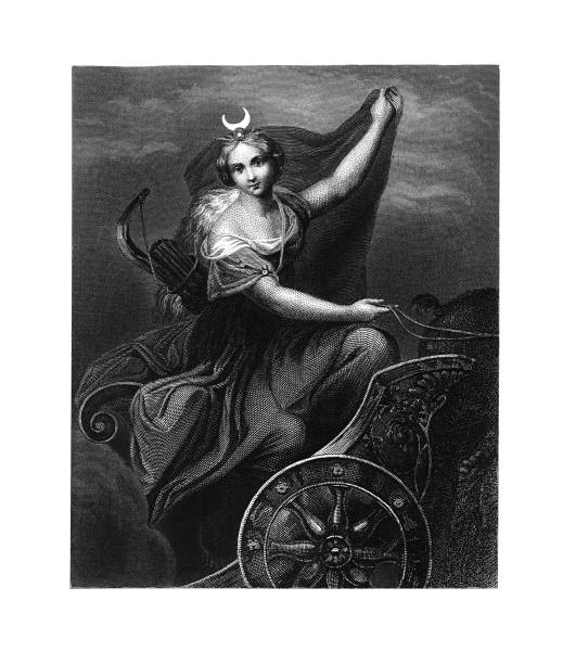 """Diana (antique engraving after Correggio's fresco) 19th-century illustration of Diana, the goddess of the hunt, the moon and birthing. Antique engraving after Correggio's fresco, since 16th century. Original artwork published in """"A pictorial history of the world's great nations: from the earliest dates to the present time"""" by Charlotte M. Yonge (Selmar Hess, New York, 1882). artemis stock illustrations"""