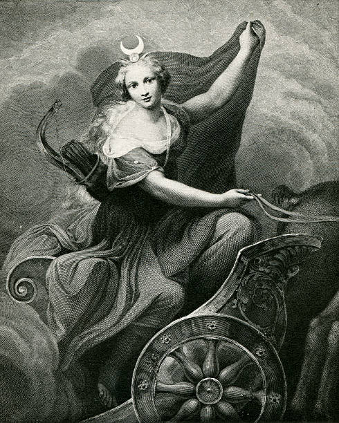 Diana In A Chariot Diana Is The Roman Goddess Of The Hunt, Birthing, And The Moon.  She Is Depicted Here Returning From The Hunt. artemis stock illustrations
