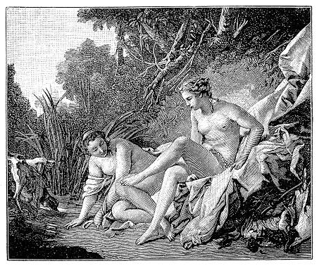Boucher El Bano De Diana.Ilustracion De Diana Saliendo De Su Bano Por Francois