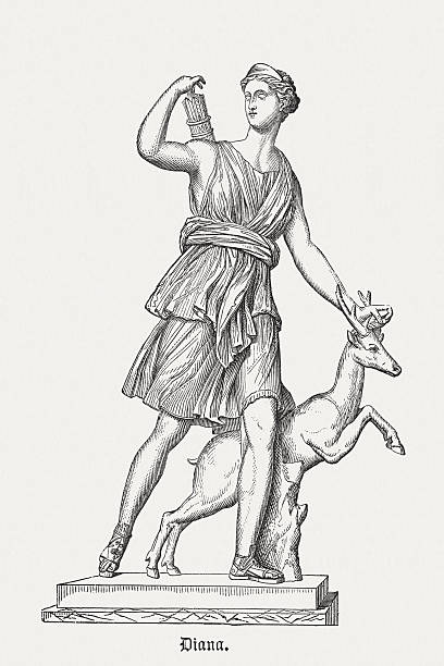 Diana of Versailles, published in 1878 Diana - Roman goddess of the hunt, the moon and childbirth. Wood engraving after an ancient sculptor (Diana of Versailles, Roman copy, 1st or 2nd century AD of a lost Greek bronze original c. 325 BC.) in the Musée du Louvre, Paris, published in 1878. artemis stock illustrations