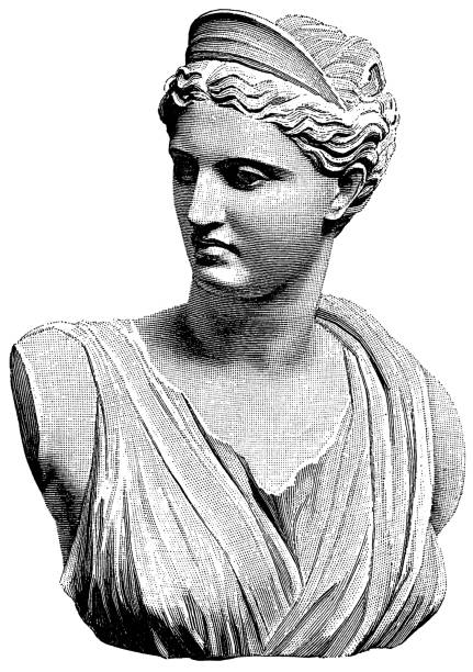 """Diana or Artemis """"Artemis was one of the most widely venerated of the Ancient Greek deities. In the classical period of Greek mythology, Artemis was often described as the daughter of Zeus and Leto, and the twin sister of Apollo.Old 19th century engraving"""" artemis stock illustrations"""