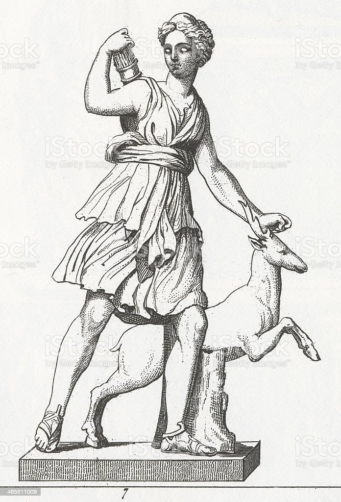 Diana the Huntress Engraving royalty-free diana the huntress engraving stock vector art & more images of 19th century