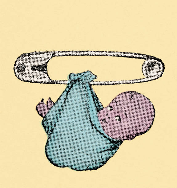 stockillustraties, clipart, cartoons en iconen met diaper pin - alleen één jongensbaby