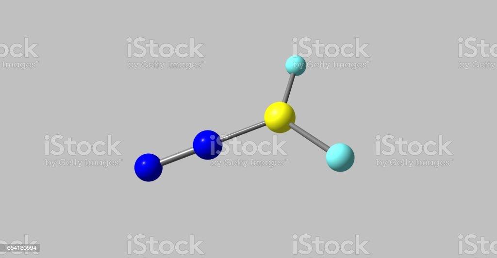 Diazomethane molecular structure isolated on grey vector art illustration