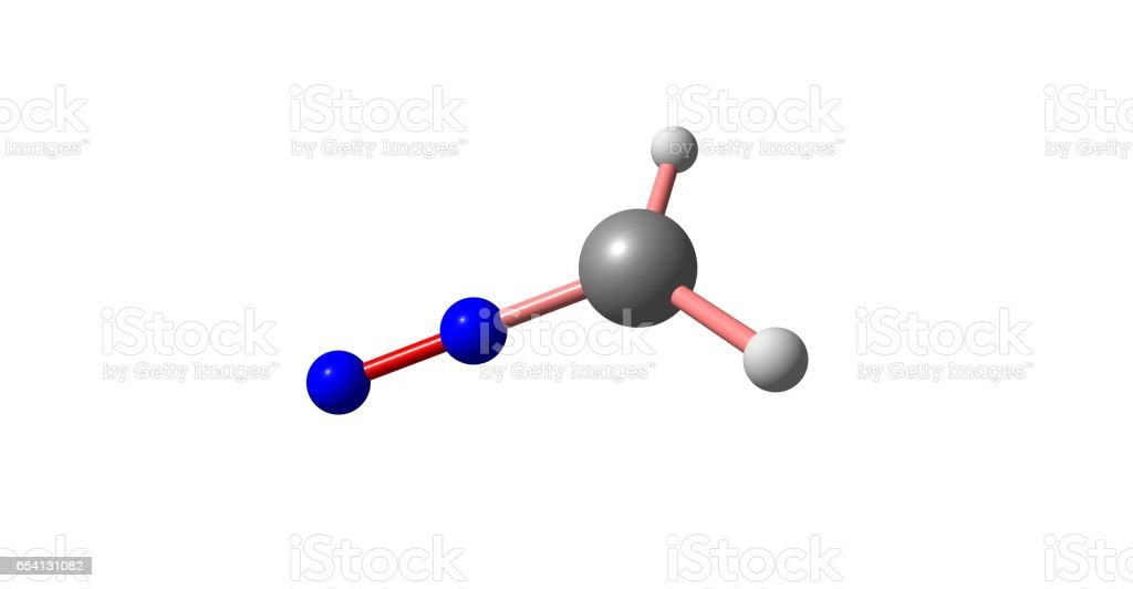 Diazomethane molecular structure isolated on white vector art illustration