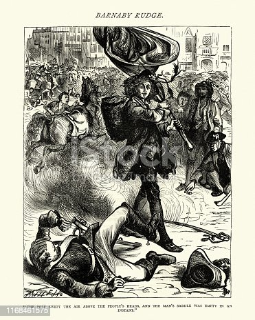 Vintage engraving of From the Charles Dickens novel, Barnaby Rudge, illustrated by Frederick Barnard. the pole swept the air above the people's heads, and the man's saddle was empty in an instant. 19th Century