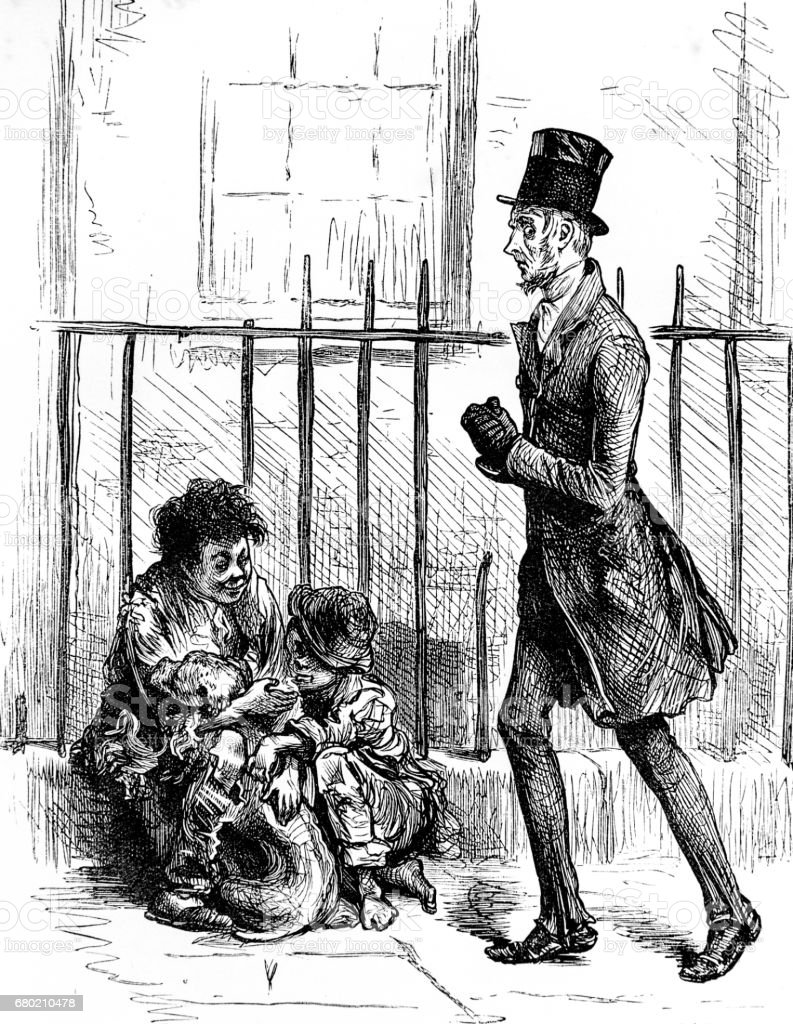 Dickens - man with street urchins - Oliver Twist royalty-free dickens man with street urchins oliver twist stock illustration - download image now