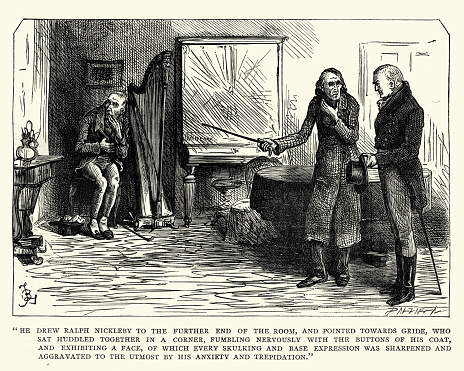 Vintage engraving of a scene from the Charles Dickens Novel Nicholas Nickleby. He drew Ralph Nickleby to the further end of the room, and pointed towards Gride, who sat huddled together in a corner, fumbling nervously with the buttons of his coat, and exhibiting a face, of which every skulking and base expression was sharpened and aggravated to the utmost by his anxiety and trepidation.
