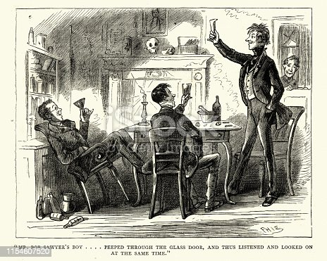 Vintage engraving of a scene from Charles Dickens the Posthumous Papers of the Pickwick Club. Mr. Bob Sawyer's boy . . . . peeped through the glass door, and thus listened and looked on at the same time by Phiz (Hablot K. Browne)